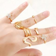 HN-7 piece/Set New Water zircon Hollowed flowers stars diamond Wedding Rings Women Men Jewellery gold as picture