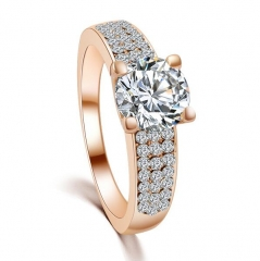 HN-1 piece/Set New Fashion Luxurious 18k diamond Wedding Rings Women Men Jewellery Gift rose gold 6