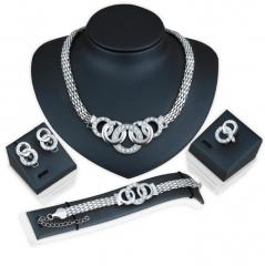 HN-5 piece/Set New alloy Necklace Pendant Earring Studs Bracelet Wedding Rings Women Men Jewellery silver as picture