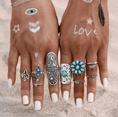 HN-9 piece/Set New Fashion Bohemia Turquoise Stone Crystal Wedding Rings Women Men Jewellery Gift silver as picture