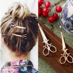HN Brand-1 piece/Set New Cute little scissors Alloy Hairpin For Women Hair Jewellery Accessories gold 1.85cm*6.55cm