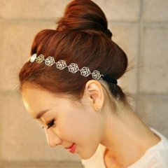 HN Brand-1 piece/Set New Hollowed rose Updo Alloy Hairpin For Women Hair Jewellery Accessories Gift gold adjustable