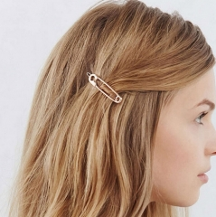 HN Brand-1 piece/Set New Paper clip Alloy Hairpin For Women Hair Jewellery Accessories Gift gold length:5.6cm