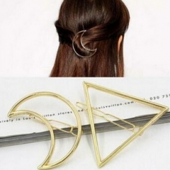 HN Brand-1 piece/Set New Triangle moon Alloy Hairpin For Women Hair Jewellery Accessories Gift gold Triangle as picture
