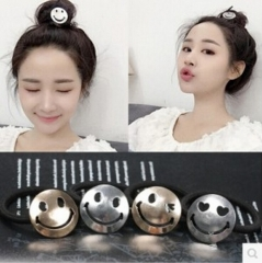 HN Brand-1 piece/Set New Lovely smiling face Rubber string Hairpin Women Hair Jewellery Accessories Gold Smiling face as picture