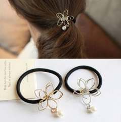 HN Brand-1 piece/Set New Hollow Flower Pearl rope Alloy Hairpin For Women Hair Jewellery Accessories gold as picture