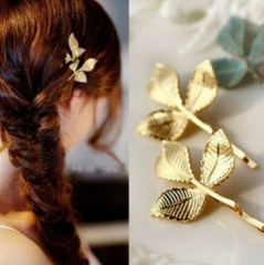 HN Brand-1 piece/Set New Stereo leaves Alloy Hairpin For Women Hair Jewellery Accessories Gift gold length:4.5cm