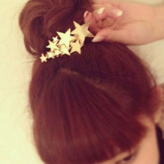 HN Brand-1 piece/Set New Stars rinka Alloy Hairpin For Women Hair Jewellery Accessories Gift gold as picture