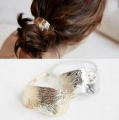 HN-1 piece/Set New Thin leaves Tousheng rubber ring Leaves hair headdress flower Women Jewellery gold as picture