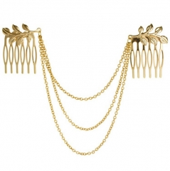 HN-1 piece/Set New Leaves the chain fringed comb hair accessories Women Hair Jewellery gold as picture