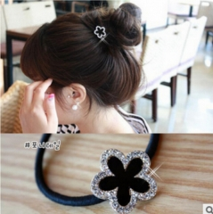 HN-1 piece/Set New black diamond ring band five petal flower accessories Women Hair Jewellery gold as picture