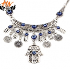 HN Brand 1 piece/Set New Fashion Hand all-match Coin Necklace metal folk style of Fatima silver as picture