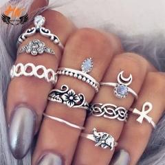 HN Brand 10 piece/Set New Beautiful Carved Flower gem crystal Rings Women Jewellery Gift gold diameter:1.5cm