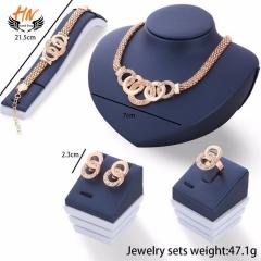 HN 5 piece/Set New alloy Necklace Pendant Earring Studs Bracelet Wedding Rings Women Men Jewellery gold as picture