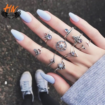 HN-9 piece/Set New Fashion Individual love Alloy Crystal Wedding Ring Women Men Jewellery Gift gold as picture