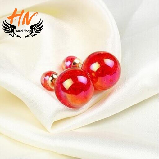 HN-1 Pair/Set New Fashion Pearl globose Stud Earrings For Women Jewellery Gift as picture 2 one size