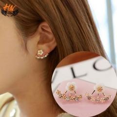 HN Brand 1 pair/Set New Beautiful Hot Daisy flowers Diamond Stud Earrings For Women Jewellery Gift gold one size