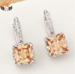 HN 1 Pair/Set New Fashion Cubic zircon crystal Stud Drop Earrings For Women Jewellery Gift as picture 1 one size