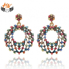 HN 1 Pair/Set New Fashion Bohemia wind meter circle Stud Drop Earrings For Women Jewellery Gift Mix Color as picture