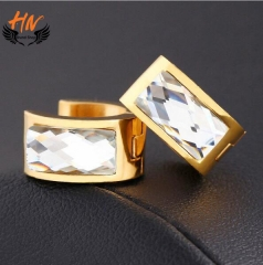 HN 1 Pair/Set New Fashion Europe and America Crystal Stud Drop Earrings For Women Jewellery Gift white as picture