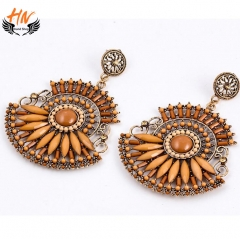 HN 1 Pair/Set New Fashion Bohemia high-end personality Stud Drop Earrings For Women Jewellery Gift Brown as picture