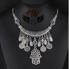 HN-1 piece/Set New Fashion Hand all-match Coin Necklace metal folk style of Fatima silver one size