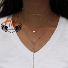 HN-1 piece/Set New Fashion multi Street sexy bronze Heart Pendant Necklace Pendant gold one size