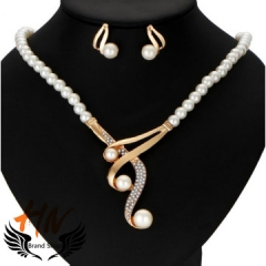 HN-3 piece/Set New Fashion Personalized pearl necklace high-grade jewelry gold one size