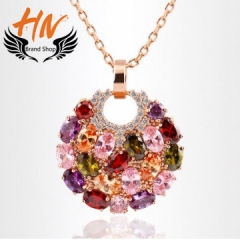 HN-1 piece/Set New Fashion Monalisa colorful zircon necklace Round Pendant luxury crystal gold one size
