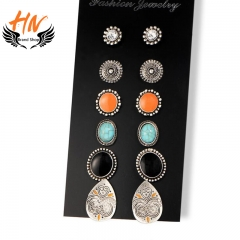 HN 6 Pair/Set New Fashion Retro totem jewel Bohemia Stud Drop Earrings For Women Jewellery Gift as picture 2 one size