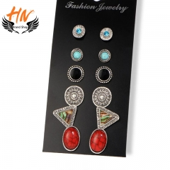 HN 6 Pair/Set New Fashion Retro totem jewel Bohemia Stud Drop Earrings For Women Jewellery Gift as picture 1 one size