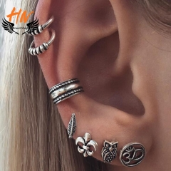 HN Brand 7 Piece  Fashion Bohemia retro anchor leaf Owl Stud Drop Earrings For Women Jewellery Gift silver one size