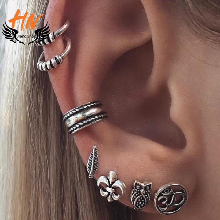 HN Brand 7 Piece  Fashion Bohemia retro anchor leaf Owl Stud Drop Earrings For Women Jewellery Gift silver one size