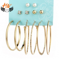 HN Brand 6 Pair/Set New Pearl Big Circuit Stud Drop Earrings For Women Jewellery Gift gold one size