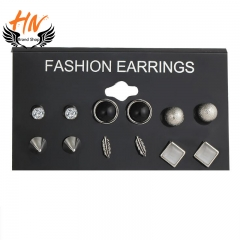 HN Brand 6 Pair/Set New Fashion Fine diamond Alloy Stud Drop Earrings For Women Jewellery Gift silver one size