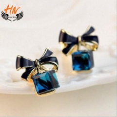 HN Brand 1 Pair/Set New Fashion Crystal butterfly knot Stud Drop Earrings For Women Jewellery Gift blue one size