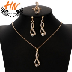 HN Brand 4piece New Wedding dinner Luxury crystal Necklace pendant stud earring Women Jewellery Gift gold one size