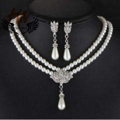 HN Brand 3 piece New Bridal Pearl crystal Drops Necklace pendant stud earring Women Jewellery Gift silver one size