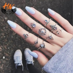 HN Brand 9 piece/Set New Fashion Individual love Alloy Crystal Wedding Ring Women Men Jewellery Gift silver one size