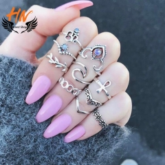 HN Brand 10 piece New Fashion Crystal pierced V shaped Alloy Wedding Ring Women Men Jewellery Gift silver one size