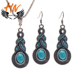 HN-3piece/Set New Vintage Crystal Turquoise Drops Necklace pendant stud earring Women Jewellery Gift blue one size