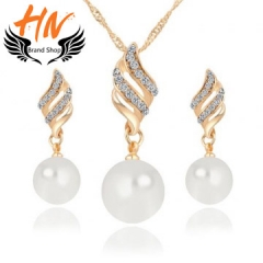 HN-3piece/Set New Smart Pearl Drops Necklace pendant stud earring Women Jewellery Gift gold one size