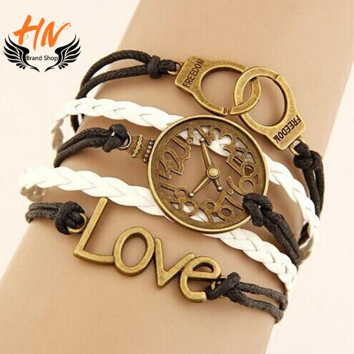 HN Brand 1 Piece/Set New Fashion LOVE Clock handcuffs alloy Bracelets Bangles Women Men Jewellery white+Black one size