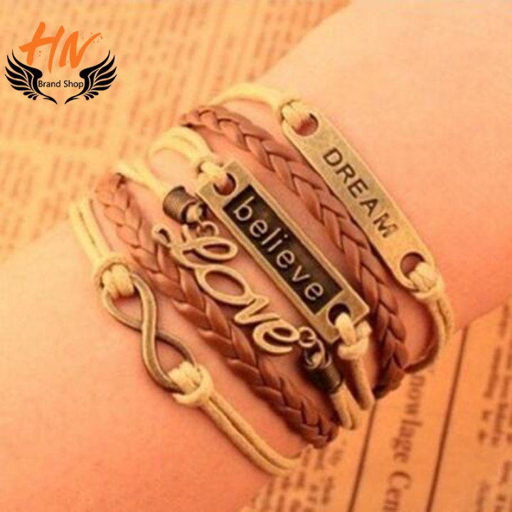 HN Brand 1 Piece New LOVE 8 bright leather rope hand multilayer Bracelets Bangles Women Jewellery gold one size