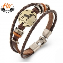 HN Brand 1 Piece New Fashion 12 constellation Woven leather Bracelets Bangles Men Women Jewellery Capricornus one size