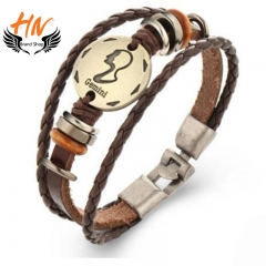 HN Brand 1 Piece New Fashion 12 constellation Woven leather Bracelets Bangles Men Women Jewellery Gemini one size