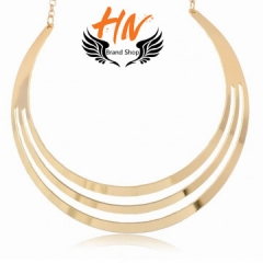 HN-1 Piece/Set New Three layer metal circles punk wind Alloy Necklaces Pendant Women Jewellery Gift gold one size