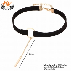 HN-1 Piece/Set New velvet ribbon choker Alloy Necklaces Pendant Women And Men Jewellery Gift Black+Gold one size