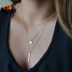 HN Brand 1 Piece/Set New 3 layer sequins Alloy Necklaces Pendant Women And Men Jewellery Gift gold one size