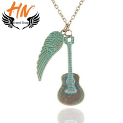 HN 1 Piece/Set New Fashion love guitar wings Alloy Necklaces Pendant Women And Men Jewellery Gift blue one size